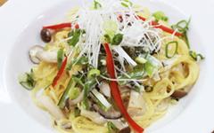 豆腐ときのこの京風パスタ
