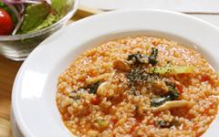 キノコと小松菜のリゾット(サラダ付)